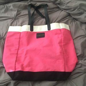 Victoria's Secret bright pink and black tote bag!